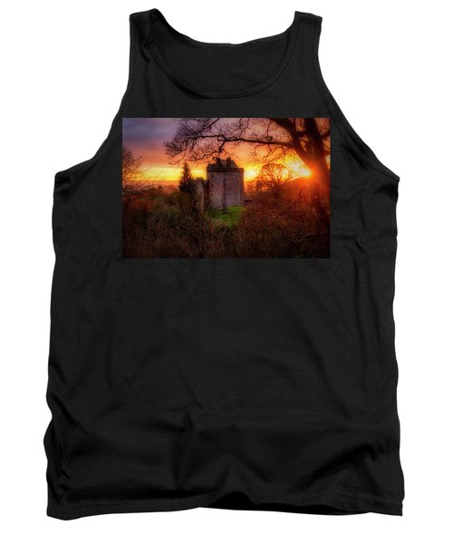 Tank Top featuring the photograph Sunset Over Castle Campbell In Scotland by Jeremy Lavender Photography