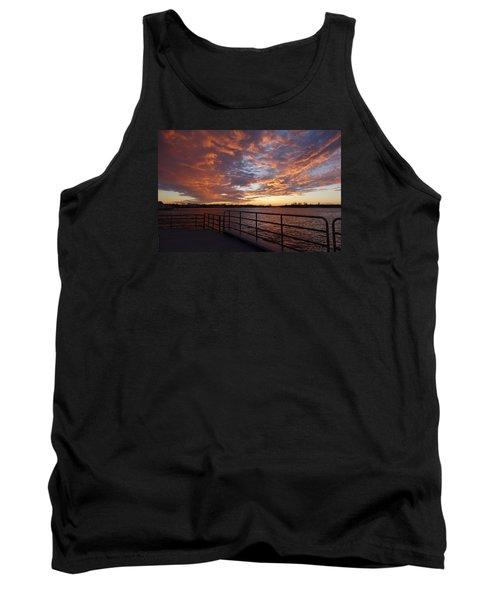 Sunset Over The Manasquan Inlet 2 Tank Top by Melinda Saminski