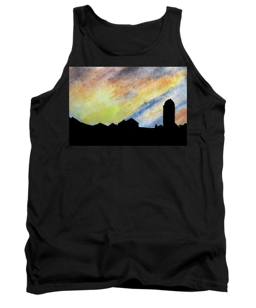 Sunset Silhouetted Farmstead Tank Top by R Kyllo