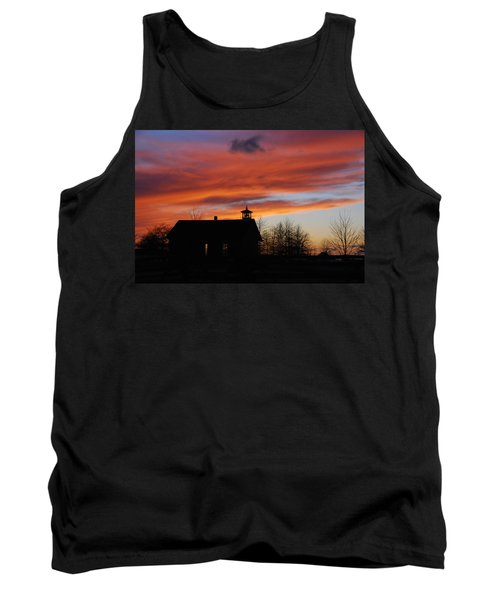 Sunsetting Behind The Historic Schoolhouse. Tank Top