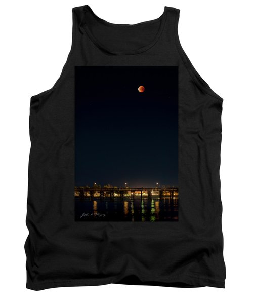 Super Blood Moon Over Ventura, California Pier Tank Top
