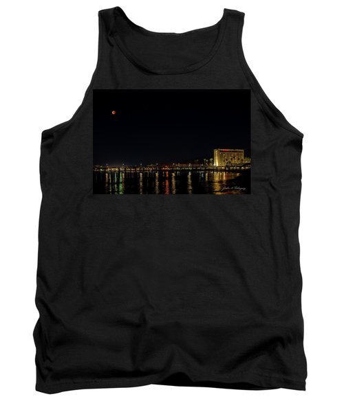 Super Blue Blood Moon Over Ventura, California Pier  Tank Top