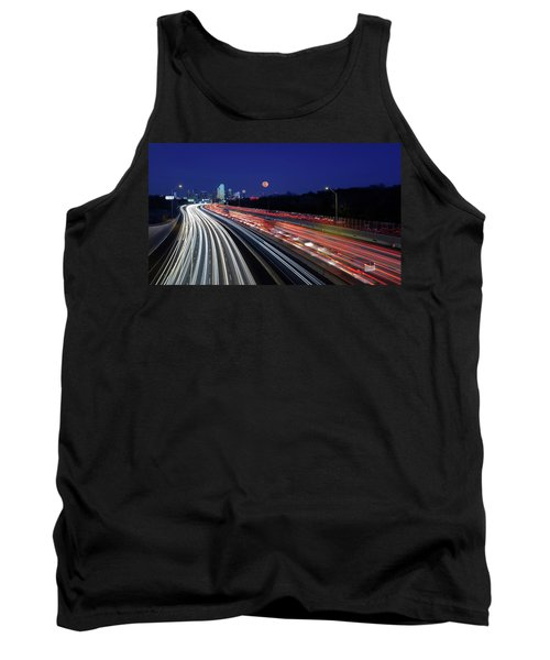 Super Moon And Dallas Texas Skyline Tank Top
