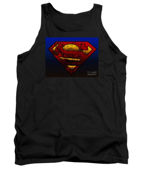 Superman Doomsday Shield  Tank Top by Justin Moore