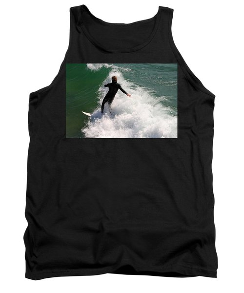 Surfer Catching A Wave Tank Top