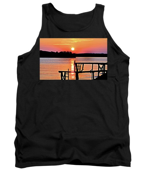 Surreal Smith Mountain Lake Dock Sunset Tank Top by The American Shutterbug Society