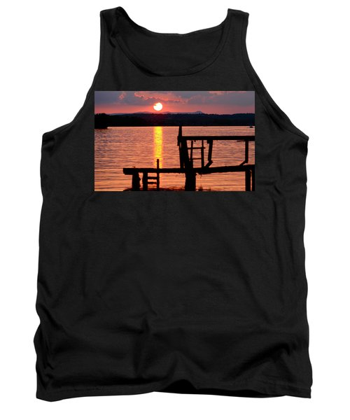 Surreal Smith Mountain Lake Dockside Sunset 2 Tank Top by The American Shutterbug Society