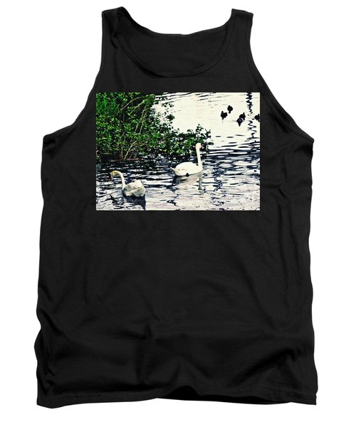 Tank Top featuring the photograph Swan Family On The Rhine 2 by Sarah Loft