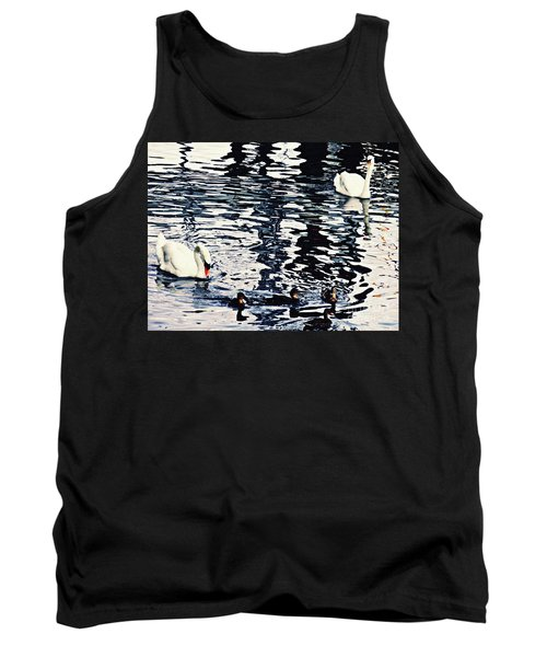Tank Top featuring the photograph Swan Family On The Rhine by Sarah Loft