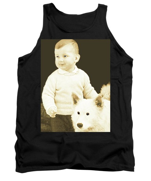 Tank Top featuring the painting Sweet Vintage Toddler With His White Mutt by Marian Cates