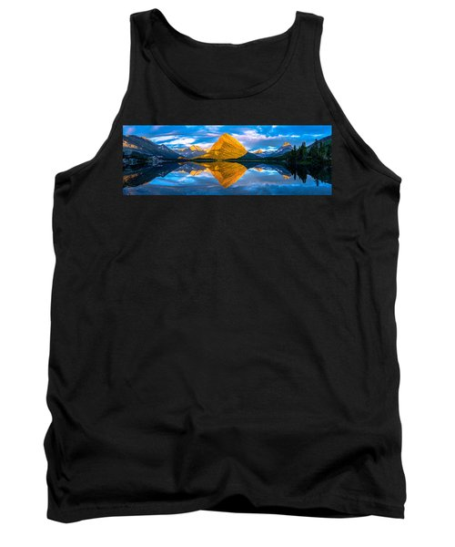 Tank Top featuring the photograph Swiftcurrent Lake Sunrise Panorama by Dustin  LeFevre