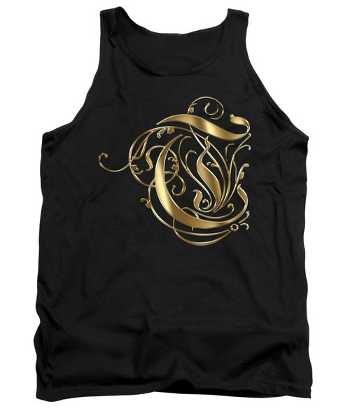 T Golden Ornamental Letter Typography Tank Top