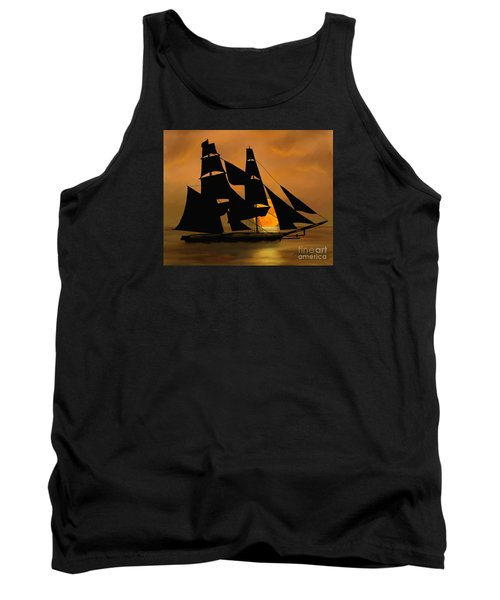 Tank Top featuring the painting Tall Ship With A Harvest Moon by Judy Filarecki