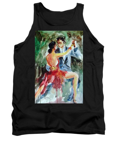 Tank Top featuring the painting Tango In The Night by Faruk Koksal