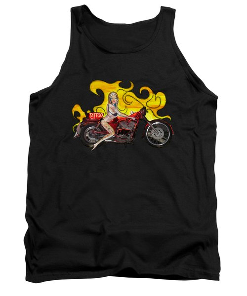 Tattoo Pinup Girl On Her Motorcycle Tank Top by Tom Conway