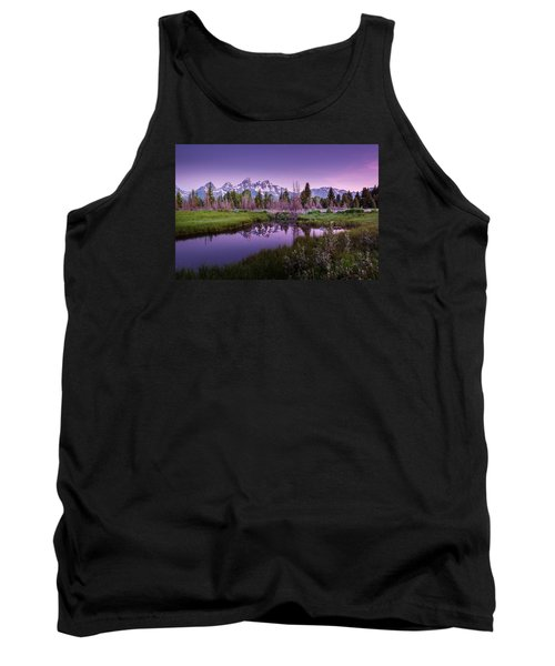 Tetons In Pink Tank Top by Mary Angelini