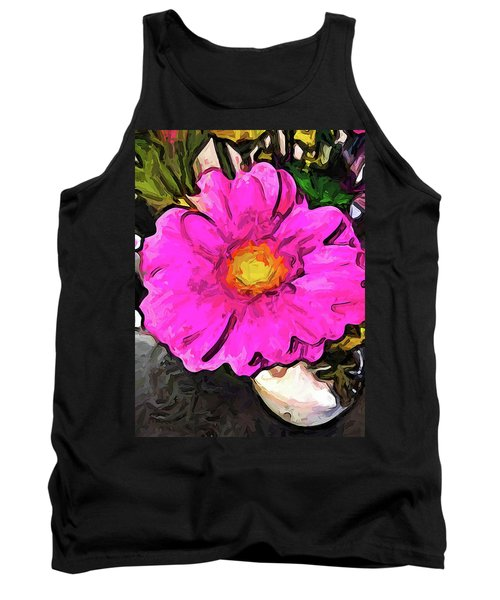 The Big Pink And Yellow Flower In The Little Vase Tank Top