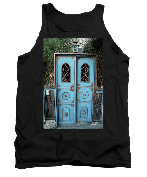 Tank Top featuring the photograph The Blue And Gold Door Of Jerusalem by Yoel Koskas