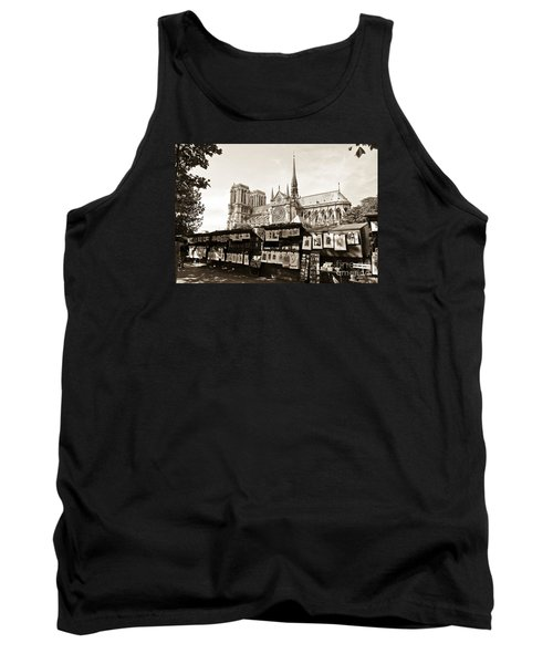 The Bouquinistes And Notre-dame Cathedral Tank Top by Perry Van Munster