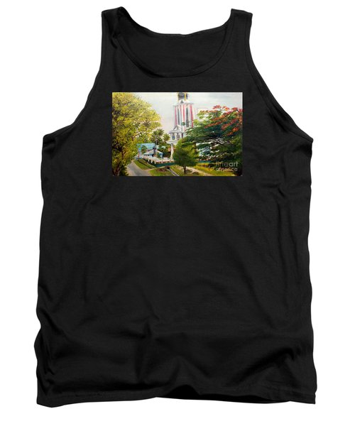 Tank Top featuring the painting The Church In My Village by Jason Sentuf