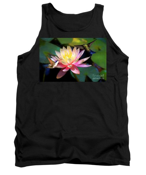 The Grutas Water Lillie With Hummingbirds Tank Top by John Kolenberg