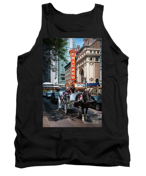The Iconic Chicago Theater Sign And Traffic On State Street Tank Top
