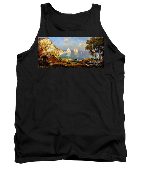 Tank Top featuring the painting The Island Of Capri And The Faraglioni by Rosario Piazza