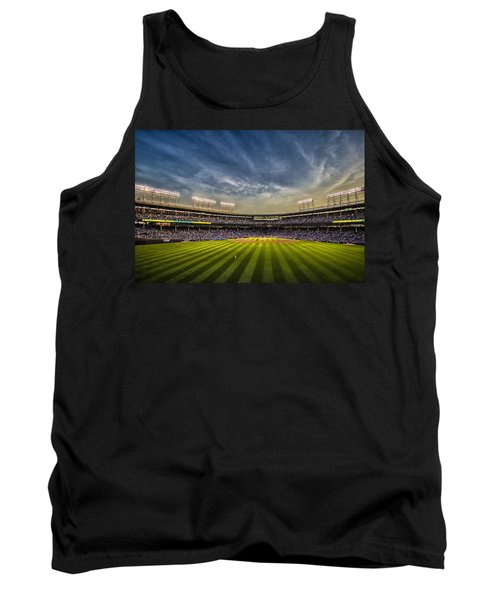 The New Wrigley Field With Pretty Sunset Sky Tank Top