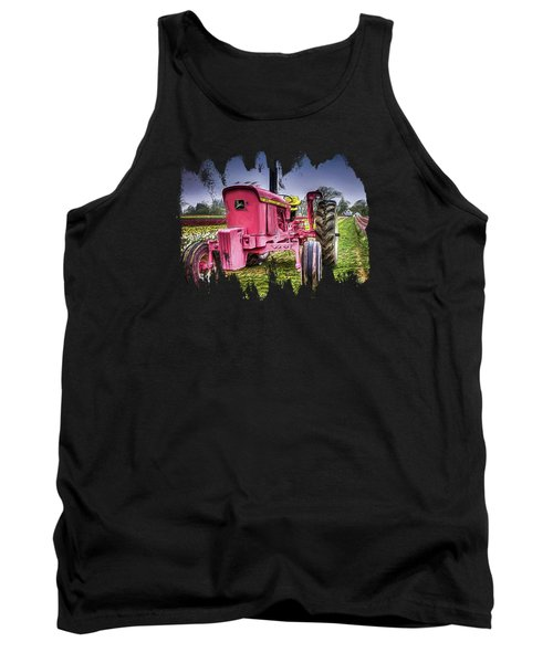 Tank Top featuring the photograph The Pink Tractor At The Wooden Shoe Tulip Farm by Thom Zehrfeld