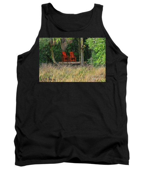 Tank Top featuring the photograph The Red Chairs by Deborah Benoit