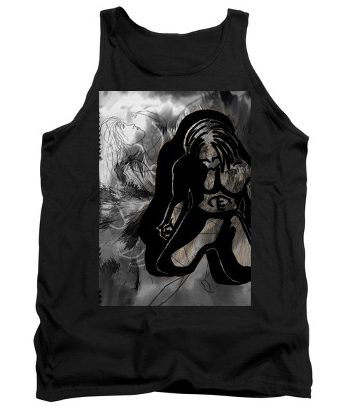 Tank Top featuring the drawing The Struggle Within by Sheila Mcdonald