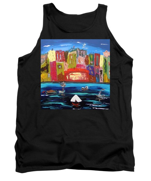 Tank Top featuring the painting The Vista Of The City by Mary Carol Williams