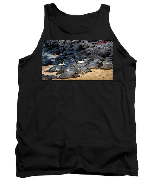 Tank Top featuring the photograph There Has Got To Be More Room On This Beach  by Jim Thompson
