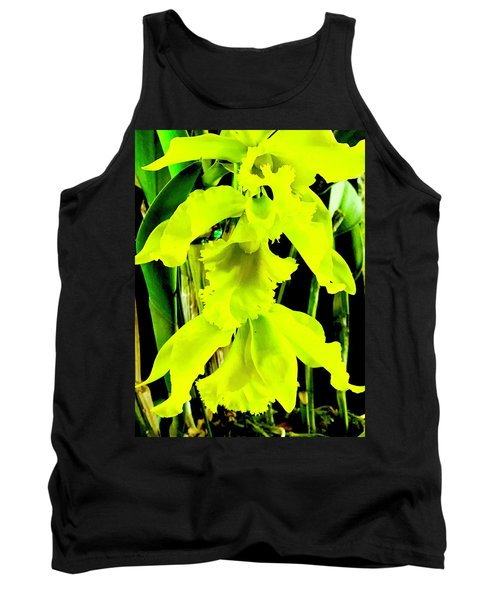 Three Orchids In Yellow Tank Top