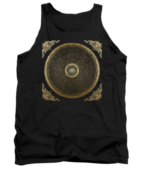 Tibetan Thangka - Green Tara Goddess Mandala With Mantra In Gold On Black Tank Top