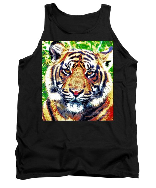 Tank Top featuring the painting Tiger Art by Annie Zeno