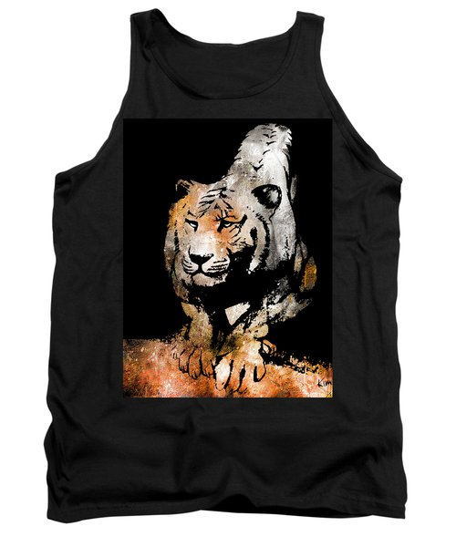 Tank Top featuring the drawing Tiger Collage #6 by Kim Gauge