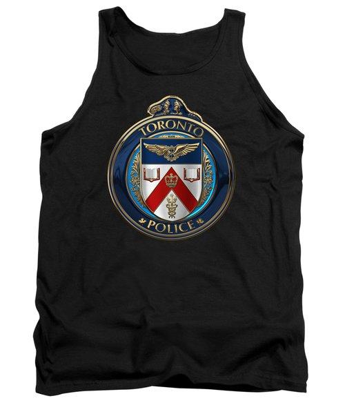 Tank Top featuring the digital art Toronto Police Service  -  T P S  Emblem Over Black Velvet by Serge Averbukh
