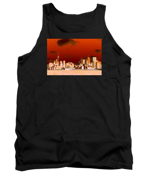 Tank Top featuring the photograph Toronto Red Skyline by Valentino Visentini
