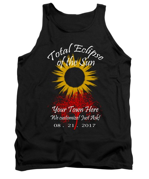 Total Eclipse Art For T Shirts Sun And Tree On Black Tank Top
