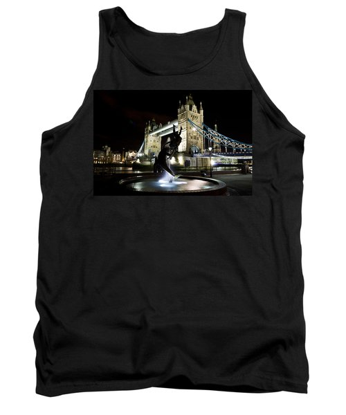 Tower Bridge With Girl And Dolphin Statue Tank Top
