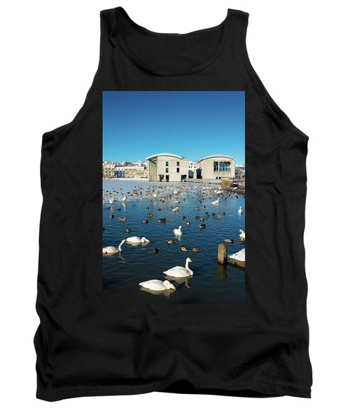 Town Hall And Swans In Reykjavik Iceland Tank Top by Matthias Hauser