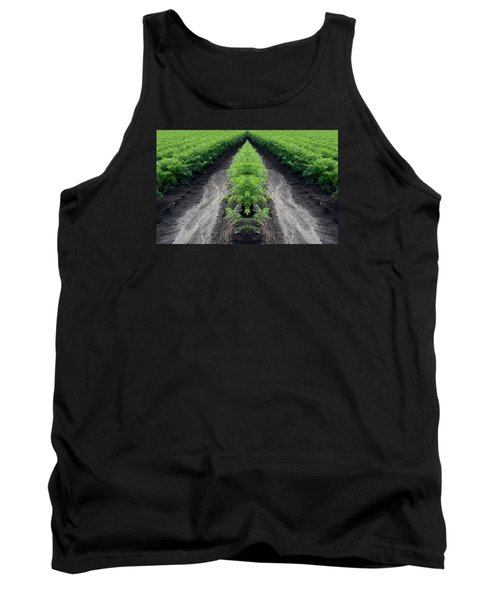 Tank Top featuring the photograph Tractor Trail Through The Field 3  by Lyle Crump