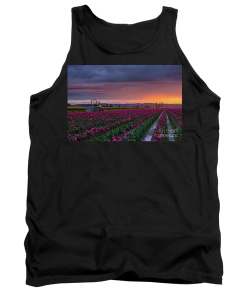 Tank Top featuring the photograph Tractor Waits For Morning by Mike Reid