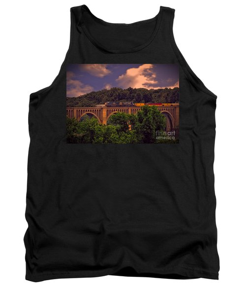 Tank Top featuring the photograph Train Trestle Over The James by Melissa Messick