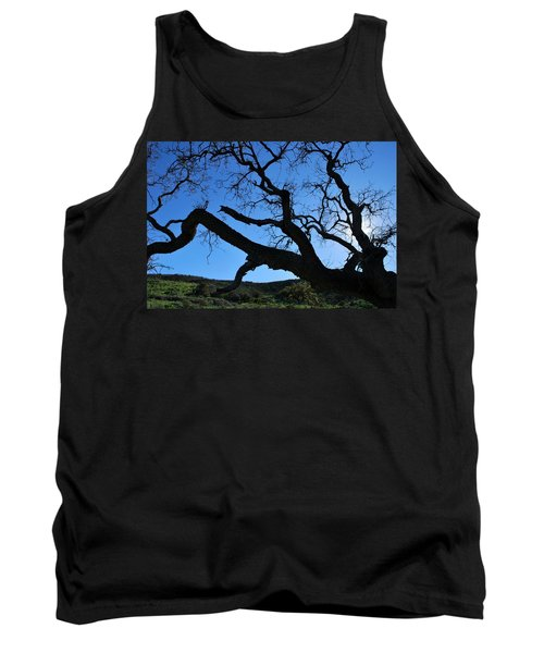Tree In Rural Hills - Silhouette View Tank Top