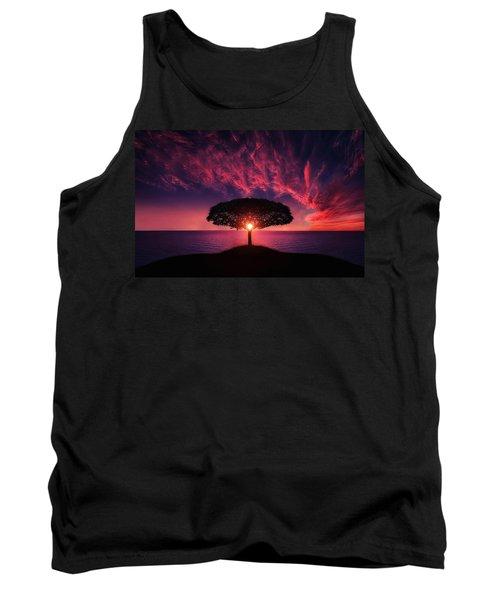 Tree In Sunset Tank Top by Bess Hamiti