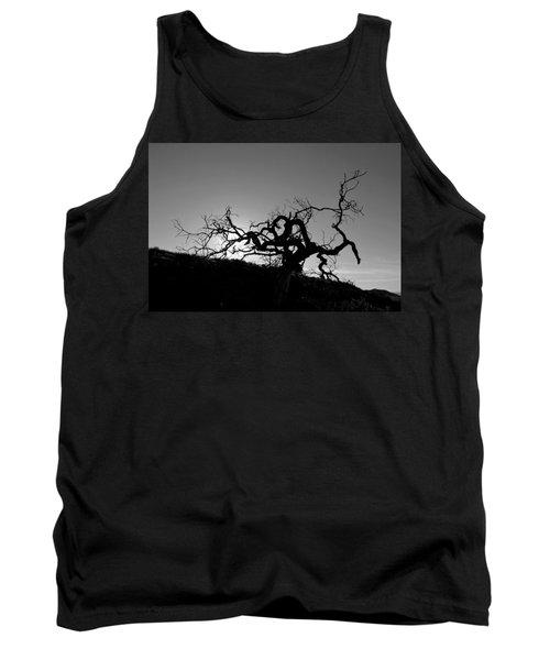 Tree Of Light Silhouette Hillside - Black And White  Tank Top