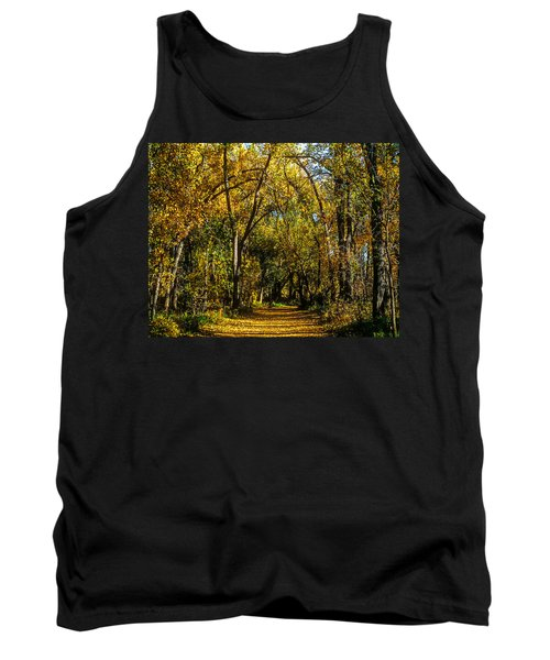 Trees Over A Path Through The Woods In Fall Color Tank Top