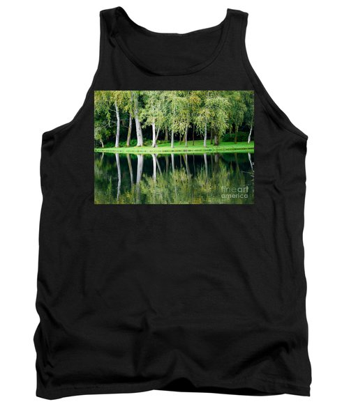 Tank Top featuring the photograph Trees Reflected In Water by Colin Rayner
